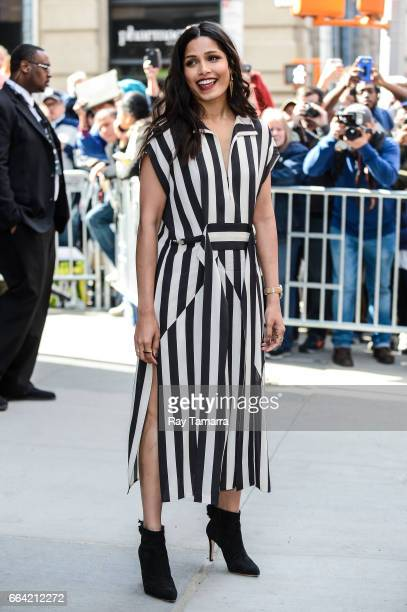 Actress Freida Pinto leaves the 'AOL Build' taping at the AOL Theater on April 03 2017 in New York City