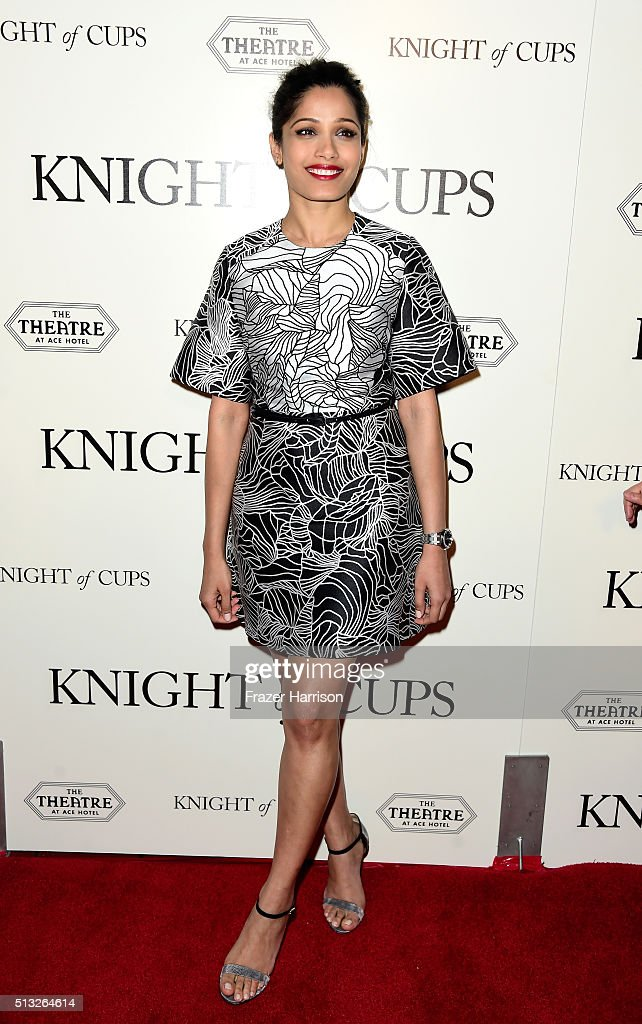 Actress Freida Pinto Premiere Of Broad Green Pictures' 'Knight Of Cups' at the Theatre at Ace Hotel on March 1, 2016 in Los Angeles, California.
