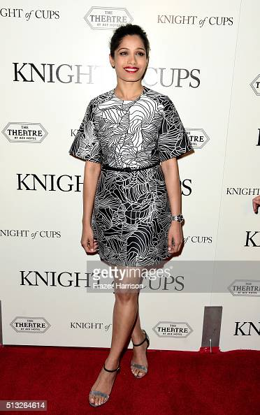 Actress Freida Pinto Premiere Of Broad Green Pictures' 'Knight Of Cups' at the Theatre at Ace Hotel on March 1 2016 in Los Angeles California