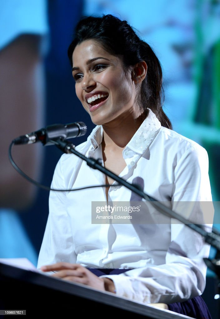 Actress <a gi-track='captionPersonalityLinkClicked' href=/galleries/search?phrase=Freida+Pinto&family=editorial&specificpeople=5518973 ng-click='$event.stopPropagation()'>Freida Pinto</a> speaks onstage during the Intel Event at The Shop during the 2013 Sundance Film Festival on January 21, 2013 in Park City, Utah.