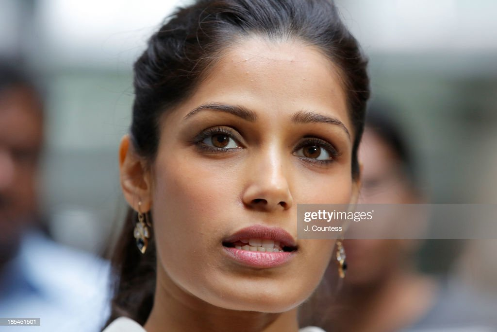 Actress <a gi-track='captionPersonalityLinkClicked' href=/galleries/search?phrase=Freida+Pinto&family=editorial&specificpeople=5518973 ng-click='$event.stopPropagation()'>Freida Pinto</a> speaks to the media during the 'Day Of The Girl' Fresco Unveiling With <a gi-track='captionPersonalityLinkClicked' href=/galleries/search?phrase=Freida+Pinto&family=editorial&specificpeople=5518973 ng-click='$event.stopPropagation()'>Freida Pinto</a> at UNICEF House on October 11, 2013 in New York City.