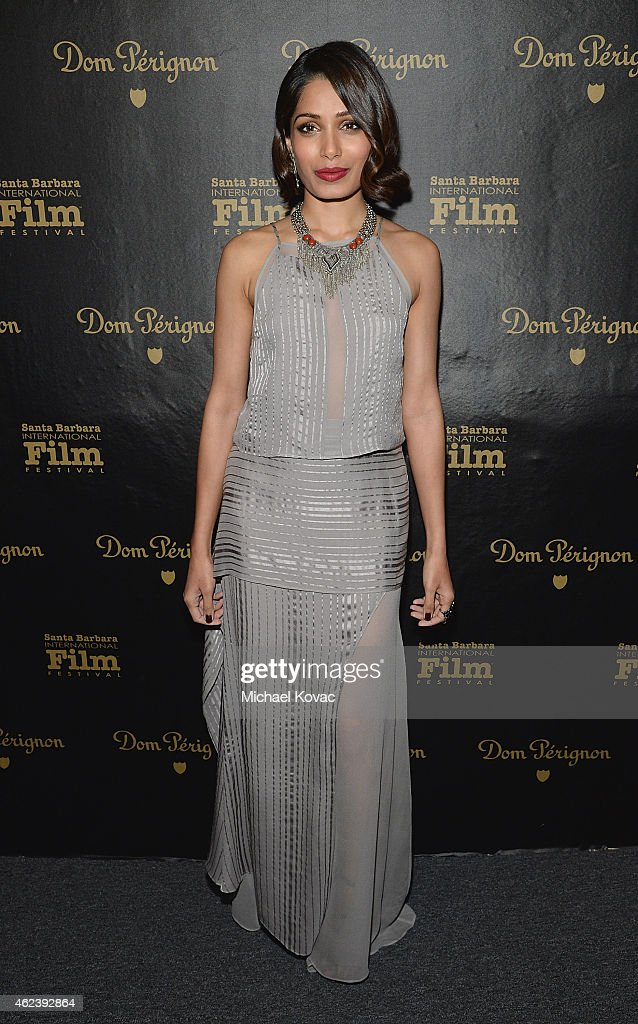 Actress <a gi-track='captionPersonalityLinkClicked' href=/galleries/search?phrase=Freida+Pinto&family=editorial&specificpeople=5518973 ng-click='$event.stopPropagation()'>Freida Pinto</a> visits the Dom Perignon Lounge at The Santa Barbara International Film Festival to celebrate the opening night film 'Desert Dancer' on January 27, 2015 in Santa Barbara, California.