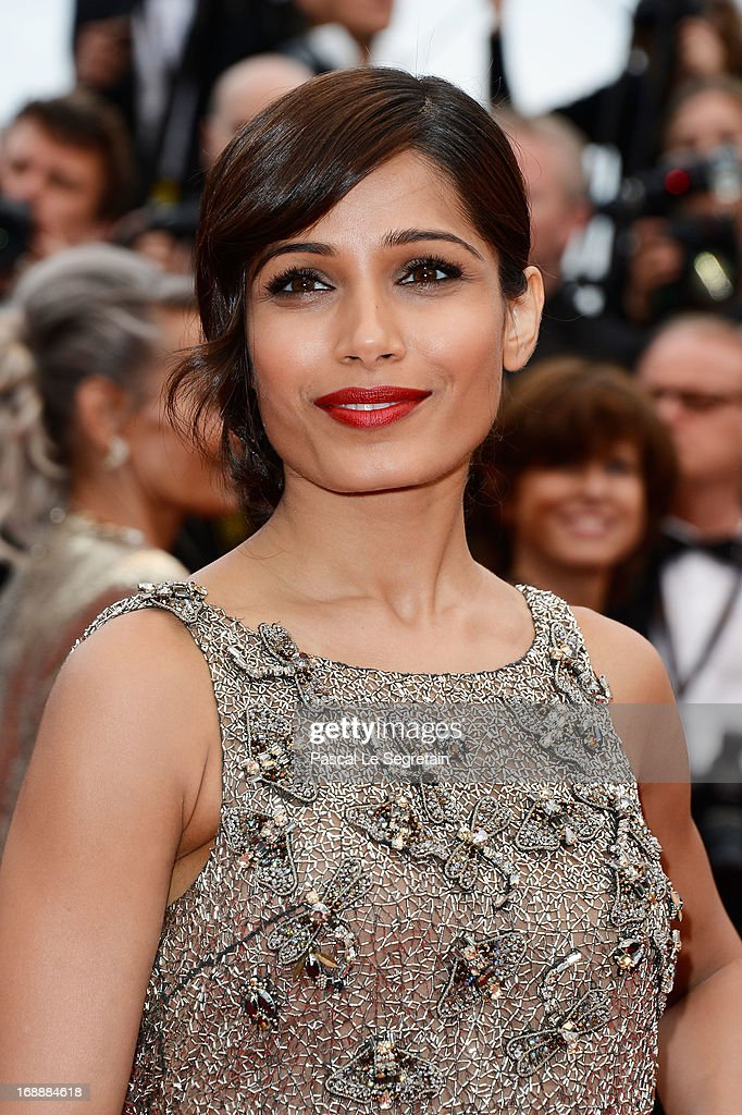 Actress Frieda Pinto attends the 'Jeune & Jolie' premiere during The 66th Annual Cannes Film Festival at the Palais des Festivals on May 16, 2013 in Cannes, France.