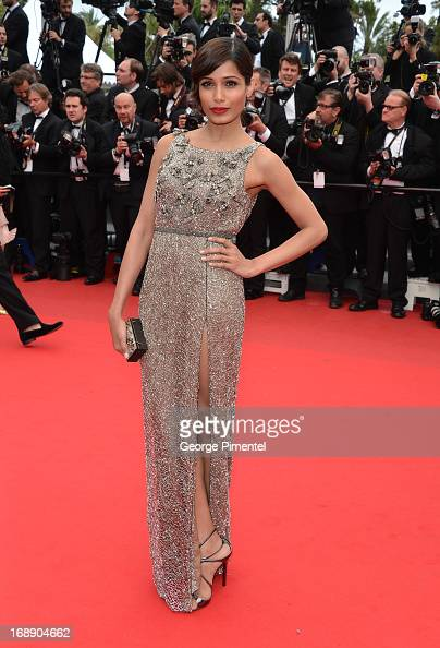 Actress Frieda Pinto attends the Premiere of 'Jeune Jolie' at The 66th Annual Cannes Film Festival at Palais des Festivals on May 16 2013 in Cannes...