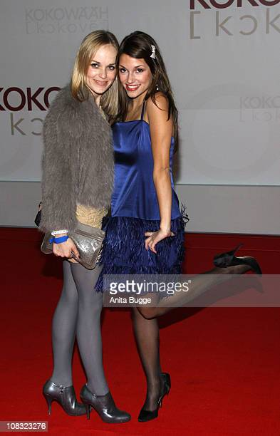 Actress Friederike Kempter and actress Anna Julia Kapfelsperger arrive for the ''Kokowaeaeh' Germany Premiere at the CineStar movie theater on...