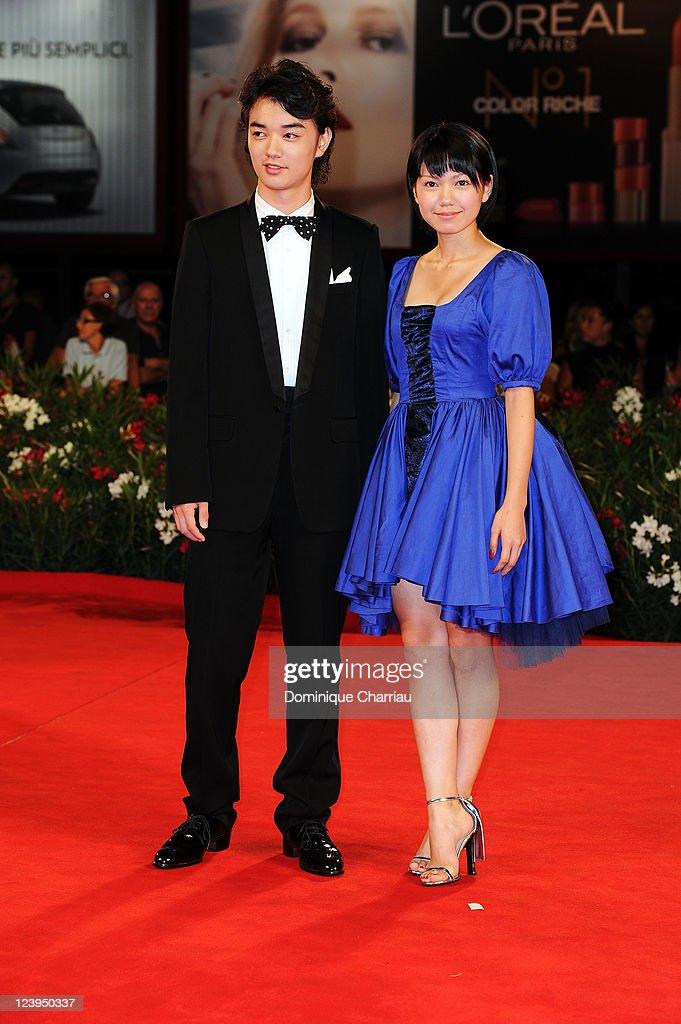 Actress Fumi Nikaido and actor Shota Sometani attend the 'Himizu' Premiere during the 68th Venice International Film Festival at Palazzo del Cinema...