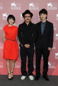 Actress Fumi Nikaido Director Sion Sono and actor Shota Sometani attend the 'Himizu' Photocall during the 68th Venice International Film Festival at...