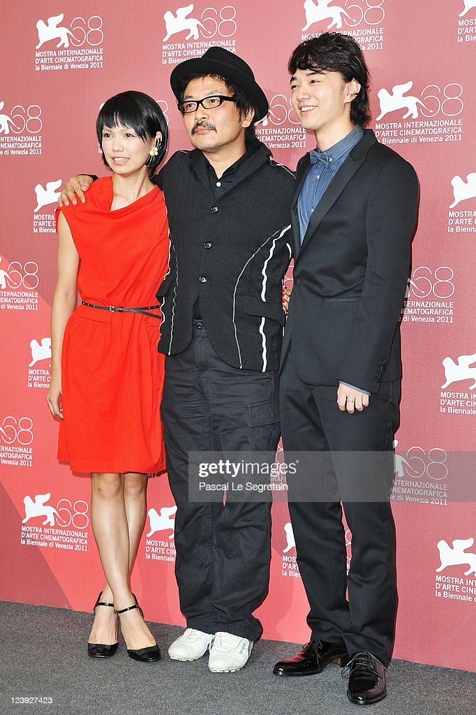 Actress Fumi Nikaido director Sion Sonoand actor Shota Sometani pose at the 'Himizu' Photocall at the Palazzo del Cinema during the 68th Venice Film...