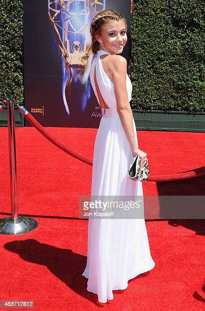 Actress G Hannelius arrives at the 2014 Creative Arts Emmy Awards at Nokia Theatre LA Live on August 16 2014 in Los Angeles California