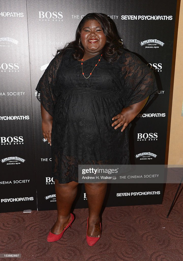 Actress Gabby Sidibe attends The Cinema Society And CBS Films Screening Of 'Seven Psychopaths' at Clearview Chelsea Cinemas on October 10, 2012 in New York City.