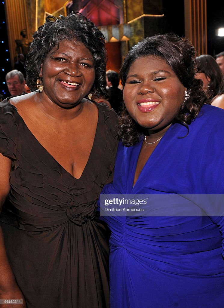 Actress Gabourey Sidibe (R) and mother attend the TNT/TBS broadcast of the 16th Annual Screen Actors Guild Awards at the Shrine Auditorium on January 23, 2010 in Los Angeles, California. 19379_006_DK_0345.JPG