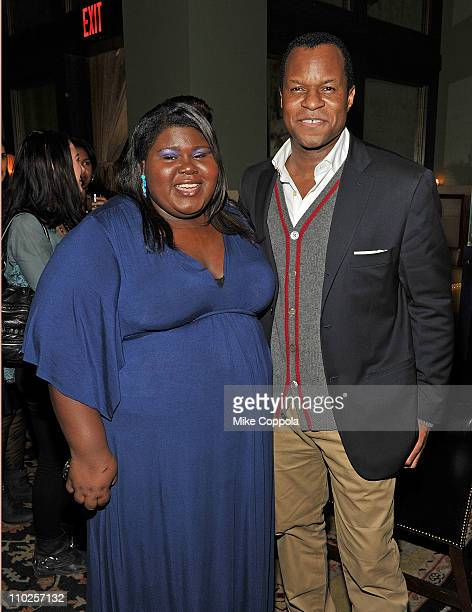 Actress Gabourey Sidibe and screenwriter Geoffrey Fletcher attend the after party for the Cinema Society Montblanc screening of 'Cracks' at the Soho...