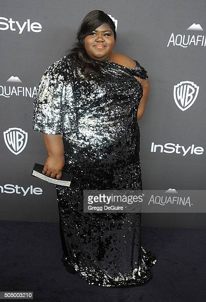 Actress Gabourey Sidibe arrives at the 2016 InStyle And Warner Bros 73rd Annual Golden Globe Awards PostParty at The Beverly Hilton Hotel on January...