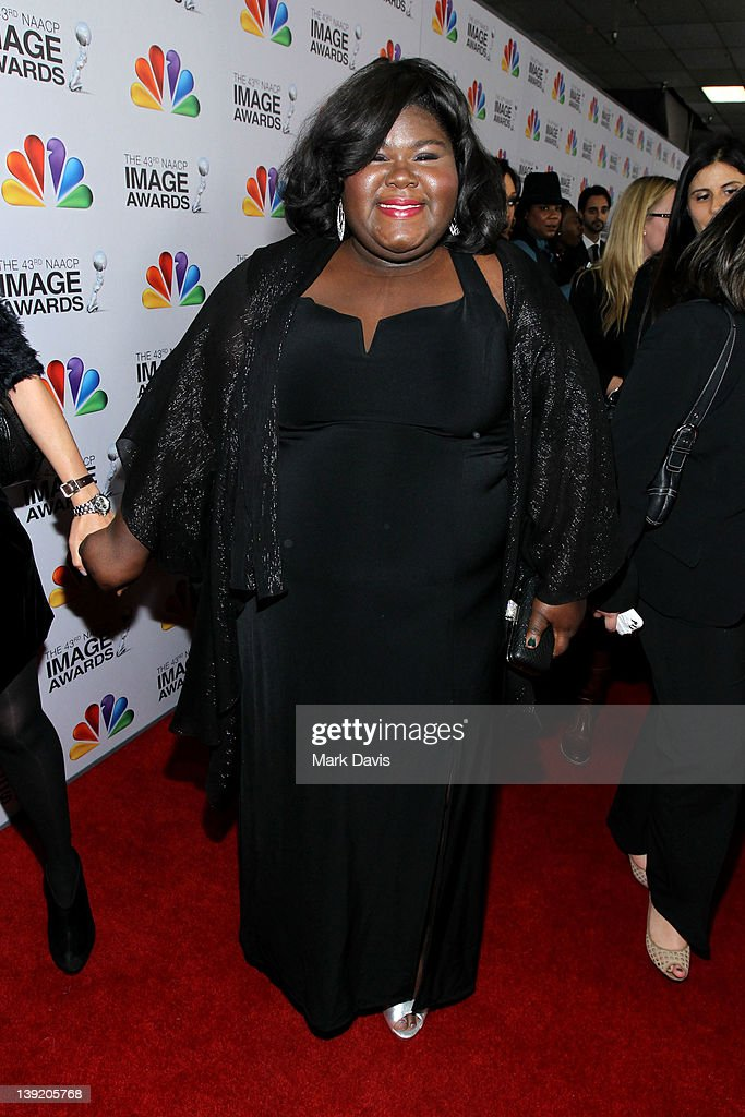 Actress <a gi-track='captionPersonalityLinkClicked' href=/galleries/search?phrase=Gabourey+Sidibe&family=editorial&specificpeople=5667783 ng-click='$event.stopPropagation()'>Gabourey Sidibe</a> arrives at the 43rd NAACP Image Awards held at The Shrine Auditorium on February 17, 2012 in Los Angeles, California.