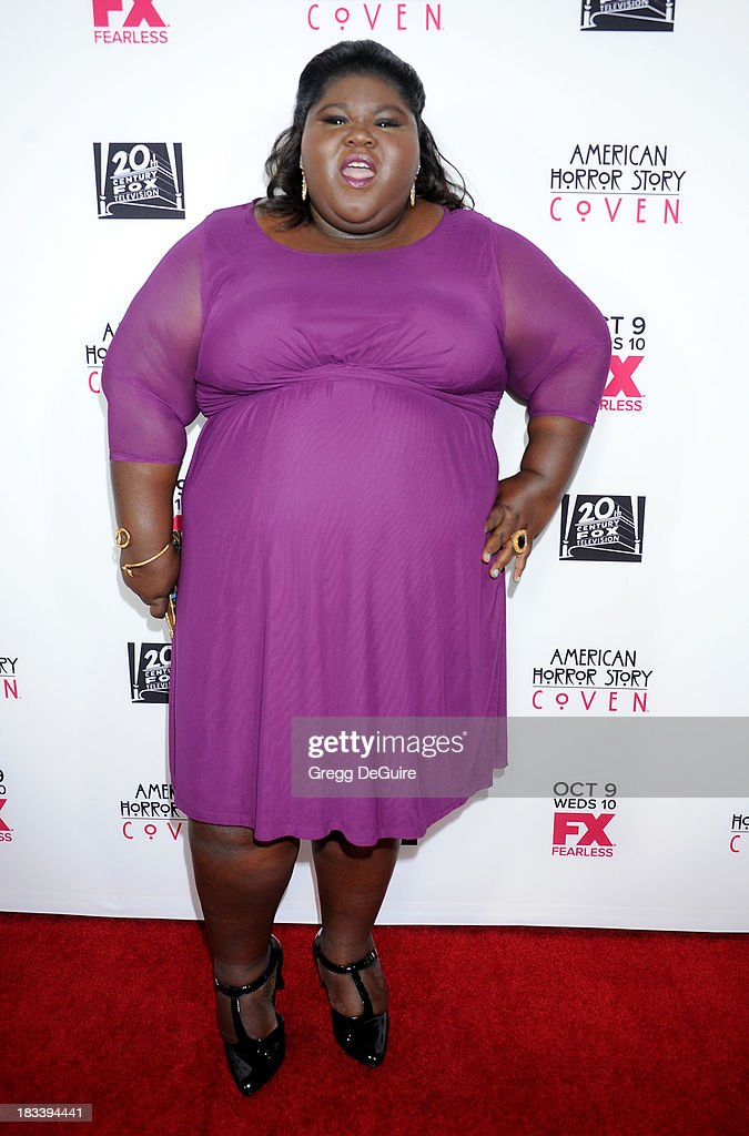 Actress <a gi-track='captionPersonalityLinkClicked' href=/galleries/search?phrase=Gabourey+Sidibe&family=editorial&specificpeople=5667783 ng-click='$event.stopPropagation()'>Gabourey Sidibe</a> arrives at the Los Angeles premiere of FX's 'American Horror Story: Coven' at Pacific Design Center on October 5, 2013 in West Hollywood, California.