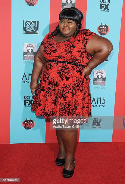Actress Gabourey Sidibe arrives at the Los Angeles premiere of 'American Horror Story Freak Show' at TCL Chinese Theatre IMAX on October 5 2014 in...