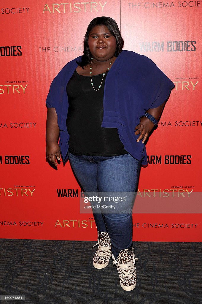 Actress Gabourey Sidibe attends a screening of 'Warm Bodies' hosted by The Cinema Society at Landmark's Sunshine Cinema on January 25, 2013 in New York City.