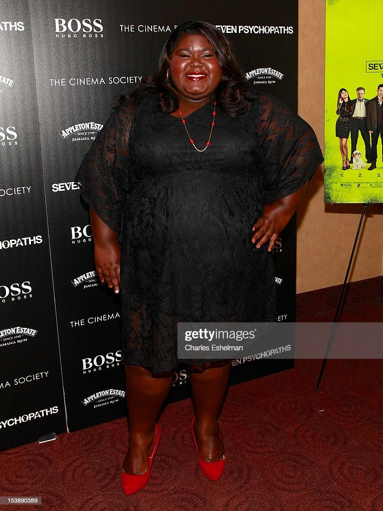 Actress Gabourey Sidibe attends The Cinema Society with Hugo Boss and Appleton Estate screening of 'Seven Psychopaths' at Clearview Chelsea Cinemas on October 10, 2012 in New York City.