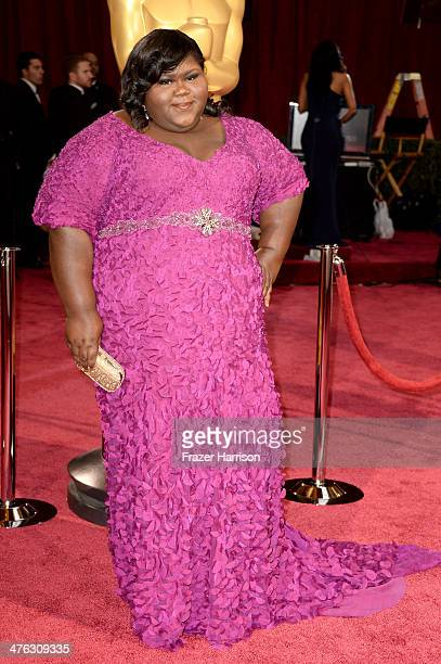 Actress Gabourey Sidibe attends the Oscars held at Hollywood Highland Center on March 2 2014 in Hollywood California