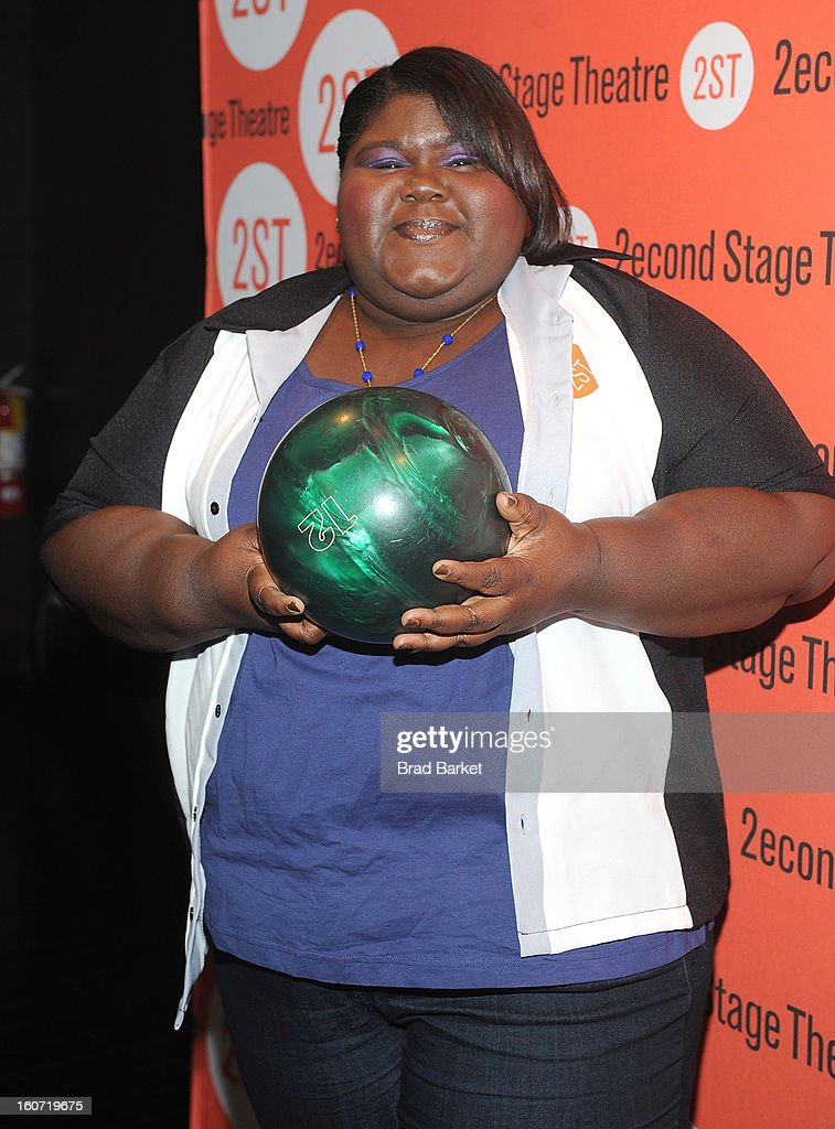 Actress Gabourey Sidibe attends the second Stage Theatre's 26th Annual All-Star Bowling Classic at Lucky Strike on February 4, 2013 in New York City.