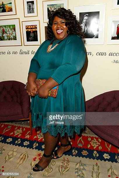 Actress Gabourey Sidibe poses in the green room at Glamour Women Of The Year 2016 at NeueHouse Hollywood on November 14 2016 in Los Angeles California
