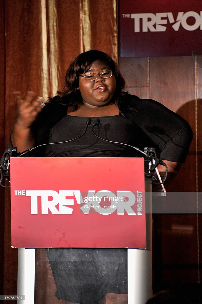 Actress <a gi-track='captionPersonalityLinkClicked' href=/galleries/search?phrase=Gabourey+Sidibe&family=editorial&specificpeople=5667783 ng-click='$event.stopPropagation()'>Gabourey Sidibe</a> speaks on stage at The Trevor Project's 2013 'TrevorLIVE' Event Honoring Cindy Hensley McCain at Chelsea Piers on June 17, 2013 in New York City.
