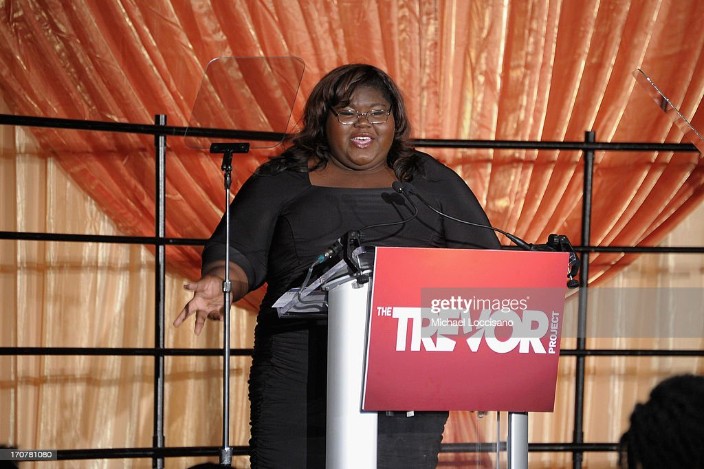 Actress <a gi-track='captionPersonalityLinkClicked' href=/galleries/search?phrase=Gabourey+Sidibe&family=editorial&specificpeople=5667783 ng-click='$event.stopPropagation()'>Gabourey Sidibe</a> speaks on stage at the TrevorLIVE New York at Pier Sixty at Chelsea Piers on June 17, 2013 in New York City.