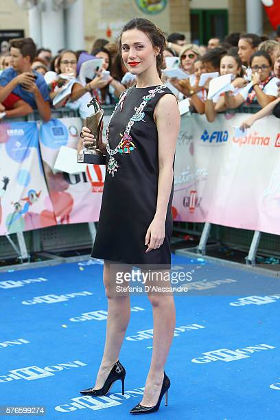 Actress Gabriella Pession poses with the Giffoni award on July 16 2016 in Giffoni Valle Piana Italy