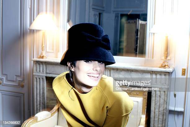 Actress Gabriella Wright is photographed for Madame Figaro on October 11 2011 in Paris France Published image Figaro ID 101889008 Hat by Marie Mercie...
