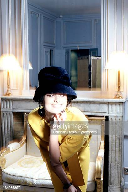 Actress Gabriella Wright is photographed for Madame Figaro on October 11 2011 in Paris France Figaro ID 101889012 Hat by Marie Mercie dress by Jil...