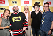 Actress Gabrielle Carteris host Kevin Smith writer Stan Lee producer Adam Savage and COO of IMDb Rob Grady attend the IMDb Yacht Party Presented By...