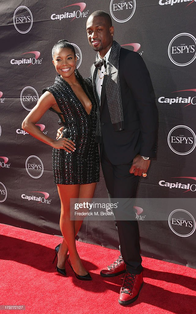 Actress <a gi-track='captionPersonalityLinkClicked' href=/galleries/search?phrase=Gabrielle+Union&family=editorial&specificpeople=202066 ng-click='$event.stopPropagation()'>Gabrielle Union</a> and NBA player <a gi-track='captionPersonalityLinkClicked' href=/galleries/search?phrase=Dwyane+Wade&family=editorial&specificpeople=201481 ng-click='$event.stopPropagation()'>Dwyane Wade</a> attend The 2013 ESPY Awards at Nokia Theatre L.A. Live on July 17, 2013 in Los Angeles, California.