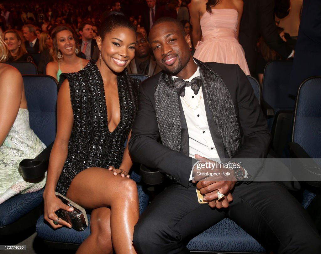 Actress <a gi-track='captionPersonalityLinkClicked' href=/galleries/search?phrase=Gabrielle+Union&family=editorial&specificpeople=202066 ng-click='$event.stopPropagation()'>Gabrielle Union</a> (L) and NBA player <a gi-track='captionPersonalityLinkClicked' href=/galleries/search?phrase=Dwyane+Wade&family=editorial&specificpeople=201481 ng-click='$event.stopPropagation()'>Dwyane Wade</a> attend The 2013 ESPY Awards at Nokia Theatre L.A. Live on July 17, 2013 in Los Angeles, California.