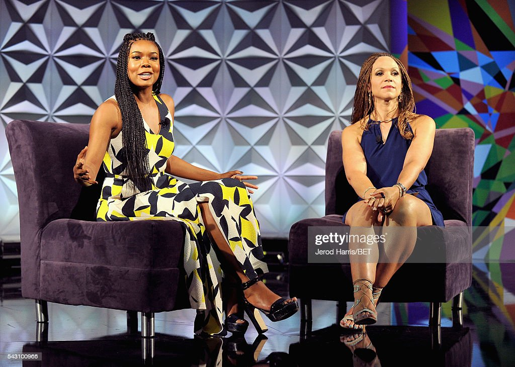 Actress <a gi-track='captionPersonalityLinkClicked' href=/galleries/search?phrase=Gabrielle+Union&family=editorial&specificpeople=202066 ng-click='$event.stopPropagation()'>Gabrielle Union</a> (L) and writer/professor <a gi-track='captionPersonalityLinkClicked' href=/galleries/search?phrase=Melissa+Harris-Perry&family=editorial&specificpeople=9523657 ng-click='$event.stopPropagation()'>Melissa Harris-Perry</a> speak onstage during the Genius Talks sponsored by AT&T during the 2016 BET Experience on June 25, 2016 in Los Angeles, California.
