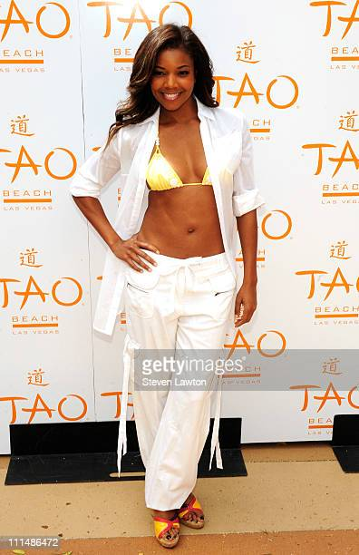 Actress Gabrielle Union arrives for Tao beach season opening party at Tao Beach on April 2 2011 in Las Vegas Nevada