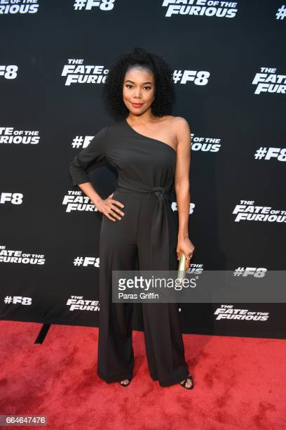 Actress Gabrielle Union attends 'The Fate Of The Furious' Atlanta red carpet screening at SCADshow on April 4 2017 in Atlanta Georgia