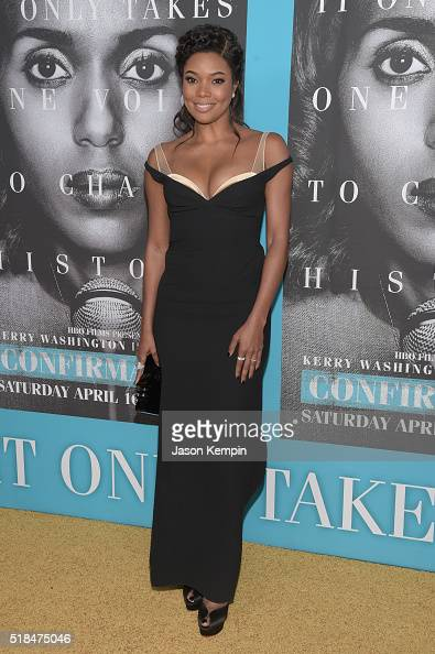 Actress Gabrielle Union attends the premiere of HBO Films' 'Confirmation' at Paramount Theater on the Paramount Studios lot on March 31 2016 in...