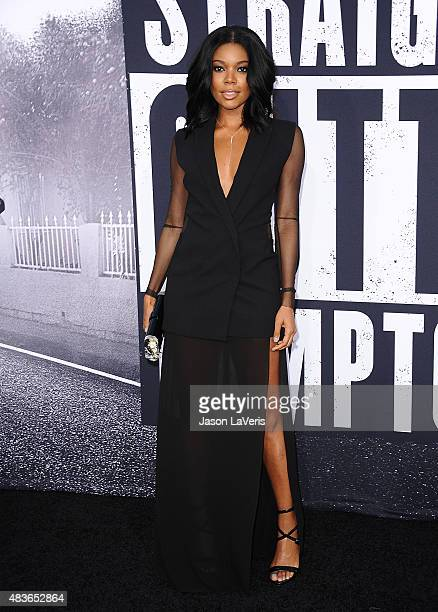 Actress Gabrielle Union attends the premiere of 'Straight Outta Compton' at Microsoft Theater on August 10 2015 in Los Angeles California