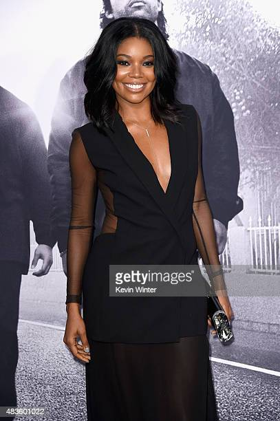 Actress Gabrielle Union attends the Universal Pictures and Legendary Pictures' premiere of 'Straight Outta Compton' at Microsoft Theater on August 10...