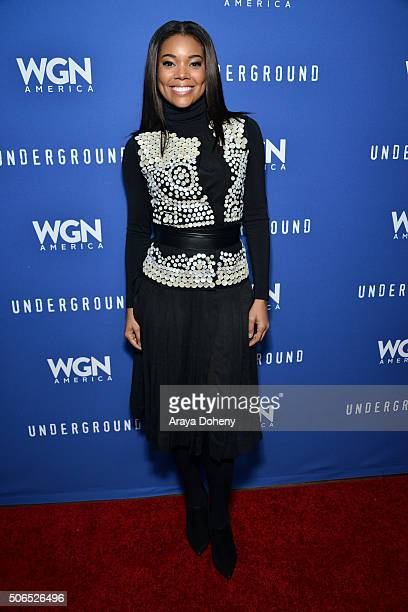 Actress Gabrielle Union attends the WGN America's Underground party with John Legend at Sundance 2016 at the VIDA TEQUILA Lounge on January 23 2016...