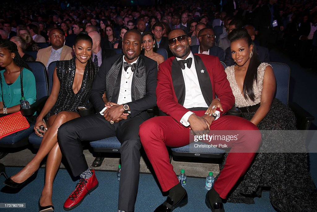 Actress <a gi-track='captionPersonalityLinkClicked' href=/galleries/search?phrase=Gabrielle+Union&family=editorial&specificpeople=202066 ng-click='$event.stopPropagation()'>Gabrielle Union</a>, NBA player <a gi-track='captionPersonalityLinkClicked' href=/galleries/search?phrase=Dwyane+Wade&family=editorial&specificpeople=201481 ng-click='$event.stopPropagation()'>Dwyane Wade</a>, NBA player <a gi-track='captionPersonalityLinkClicked' href=/galleries/search?phrase=LeBron+James&family=editorial&specificpeople=201474 ng-click='$event.stopPropagation()'>LeBron James</a>, and <a gi-track='captionPersonalityLinkClicked' href=/galleries/search?phrase=Savannah+Brinson&family=editorial&specificpeople=4319994 ng-click='$event.stopPropagation()'>Savannah Brinson</a> attend The 2013 ESPY Awards at Nokia Theatre L.A. Live on July 17, 2013 in Los Angeles, California.