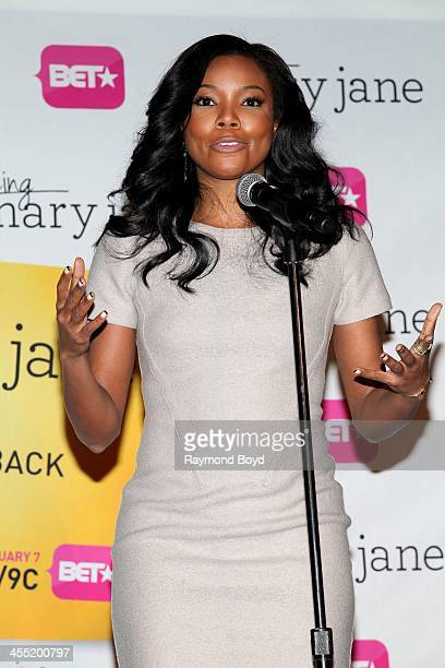 Actress Gabrielle Union speaks to the media during a luncheon and exclusive advanced screening in celebration of her BET series 'Being Mary Jane' in...