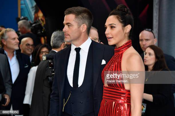 Actress Gal Gadot and Chris Pine arrive at the Premiere Of Warner Bros Pictures' 'Wonder Woman' at the Pantages Theatre on May 25 2017 in Hollywood...
