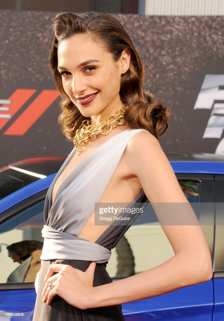 Actress <a gi-track='captionPersonalityLinkClicked' href=/galleries/search?phrase=Gal+Gadot&family=editorial&specificpeople=4350069 ng-click='$event.stopPropagation()'>Gal Gadot</a> arrives at the Los Angeles premiere of 'Fast & The Furious 6' at Gibson Amphitheatre on May 21, 2013 in Universal City, California.