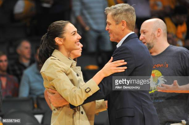 Actress Gal Gadot attends a basketball game between the Los Angeles Lakers and the Los Angeles Clippers at Staples Center on October 19 2017 in Los...