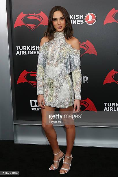 Actress Gal Gadot attends the 'Batman v Superman Dawn of Justice' premiere at Radio City Music Hall on March 20 2016 in New York City