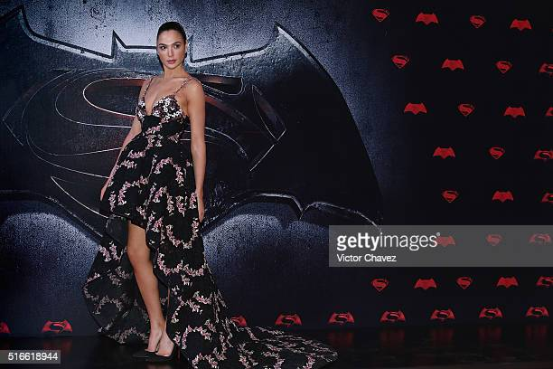 Actress Gal Gadot attends the 'Batman v Superman Dawn of Justice' world premiere Mexico City at Auditorio Nacional on March 19 2016 in Mexico City...