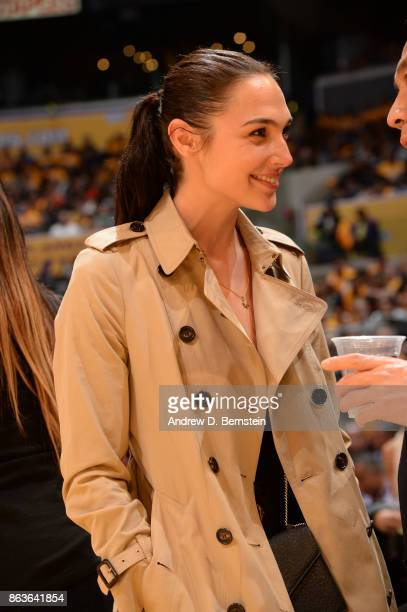 Actress Gal Gadot attends the game between the LA Clippers and the Los Angeles Lakers on October 19 2017 at STAPLES Center in Los Angeles California...