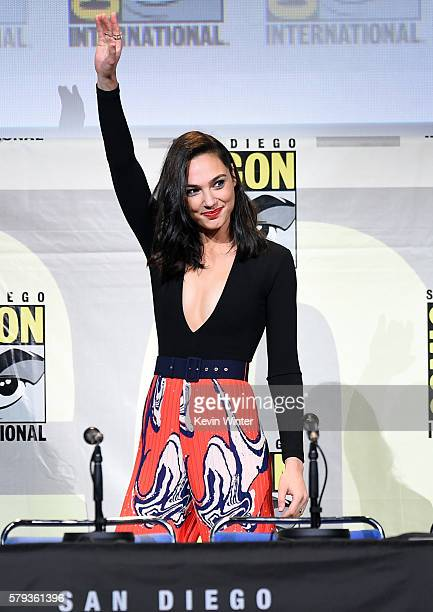 Actress Gal Gadot attends the Warner Bros Presentation during ComicCon International 2016 at San Diego Convention Center on July 23 2016 in San Diego...