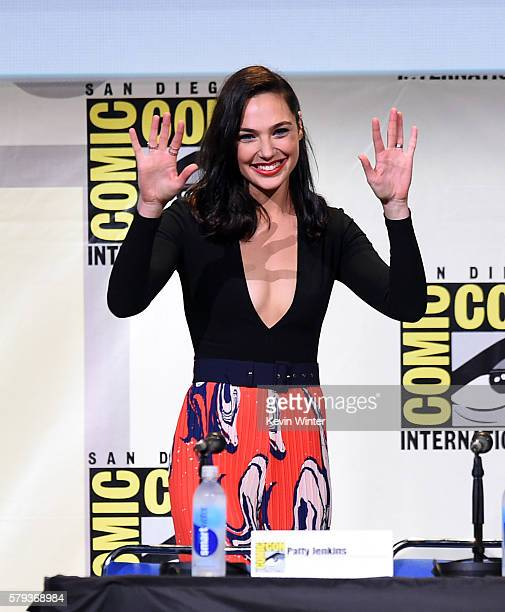 Actress Gal Gadot attends the Warner Bros 'Wonder Woman' Presentation during ComicCon International 2016 at San Diego Convention Center on July 23...